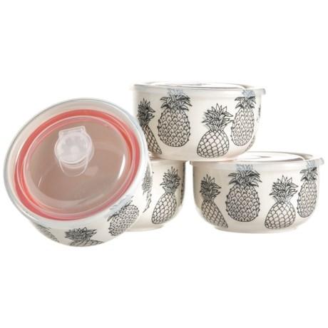 Signature Housewares Monochrome Pineapple Storage Bowls - 4-Pack, Stoneware