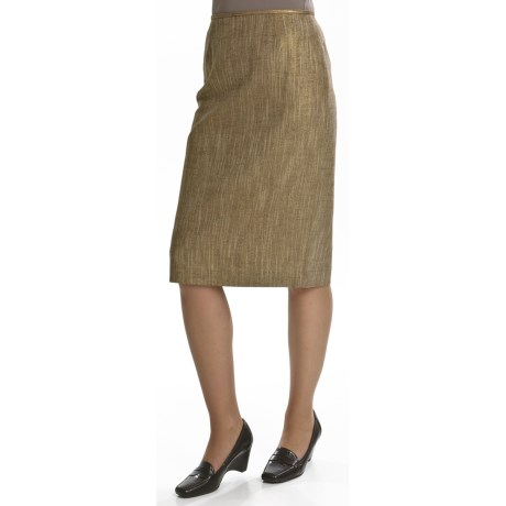 Lafayette 148 New York Slim Golden Skirt - Linen Basket Weave (For Women)