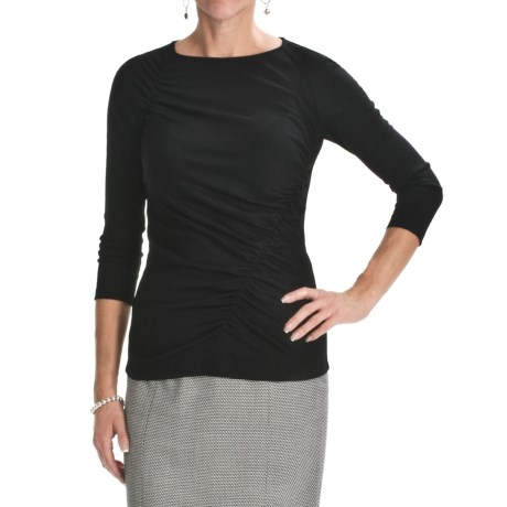 Lafayette 148 New York Ruched Wool Jersey Shirt - 3/4 Sleeve (For Women)