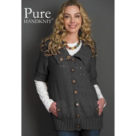 Pure Handknit Lexi Cardigan Sweater - Short Sleeve (For Women)