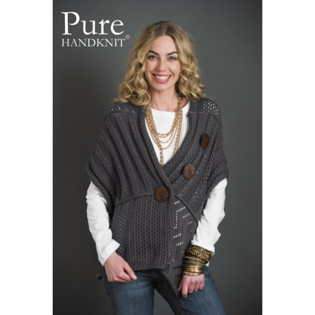 Pure Handknit Patchwork Button Wrap Sweater - Cotton (For Women)