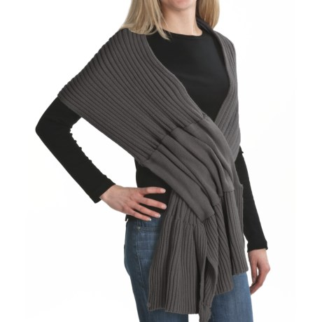 Pure Handknit Pull-Through Ribbed Scarf (For Women)