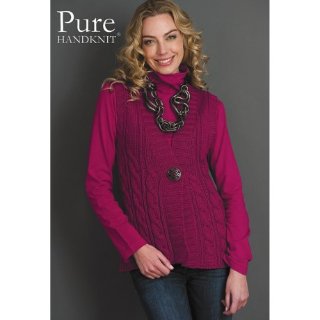 Pure Handknit Kami Button Sweater Vest (For Women)