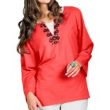 Neon Buddha Stretch Cotton Tunic Shirt - Embellished Collar, Long Sleeve (For Women)