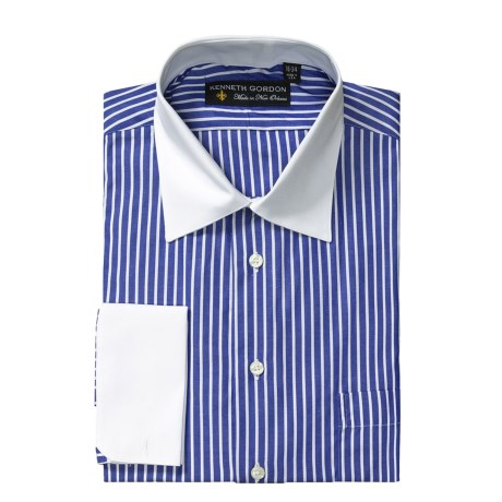 Kenneth Gordon Banker Stripe Dress Shirt - Long Sleeve, French Cuffs (For Men)