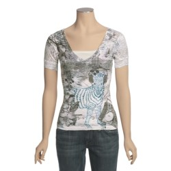 Ojai Burnout V-Neck Shirt - Short Sleeve (For Women)