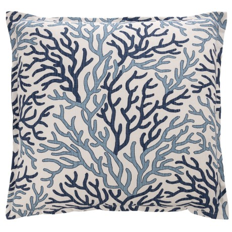"Canaan Coral Throw Pillow - 22x22"", Feathers"