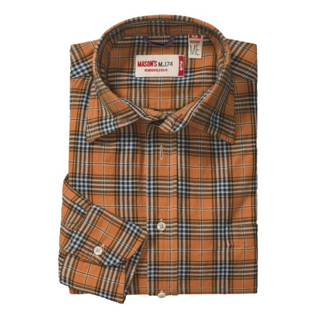 Mason's Brushed Cotton Plaid Sport Shirt - Long Sleeve (For Men)