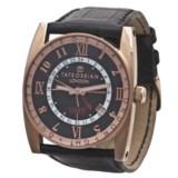 Tateossian Rose Gold Gulliver GMT Watch - Leather Strap