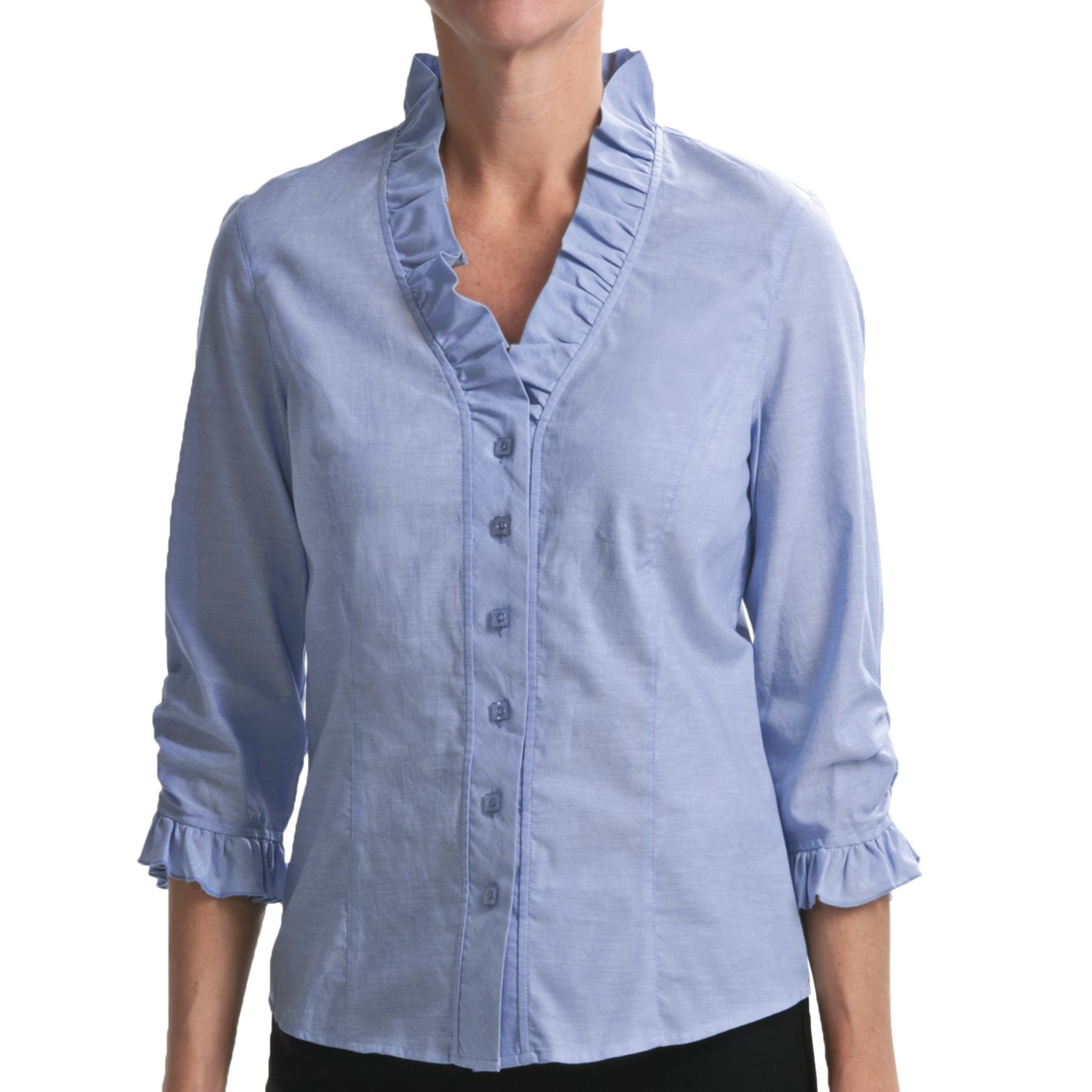 Nexx ruffled chambray shirt for women 4300p save 82 for Chambray shirt women