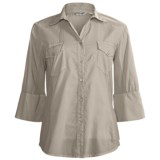 True Grit Solid Cotton Voile Shirt - Rib Side Panels, 3/4 Roll Sleeve (For Women)
