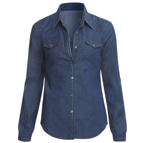 True Grit Stretch Dark Denim Shirt - Long Roll Sleeve (For Women)