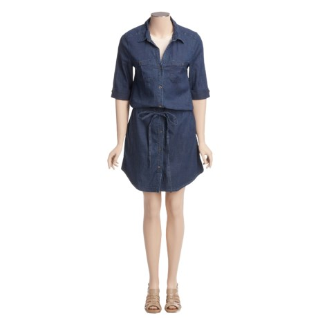 True Grit Stretch Dark Denim Dress - 3/4 Roll Sleeve, Front Tie (For Women)