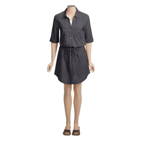 True Grit Cotton Voile Shirt Dress - 3/4 Convertible Sleeve (For Women)