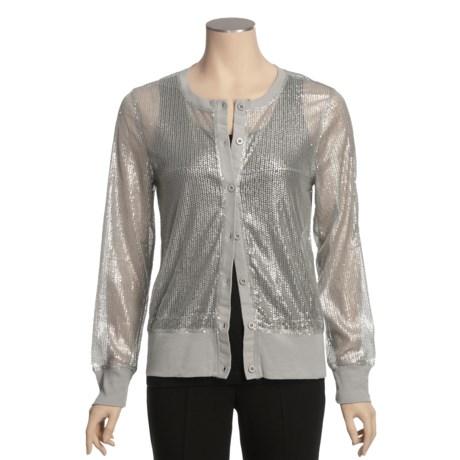 True Grit Sequin Mesh Cardigan Sweater (For Women)