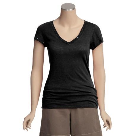 True Grit Vintage Crossover Studded T-Shirt - Slub Jersey, Short Sleeve (For Women)
