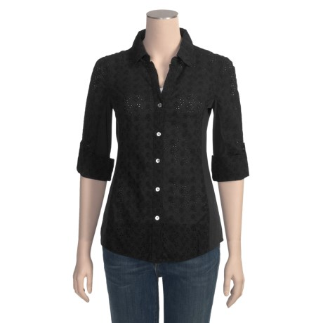 True Grit Floral Eyelet Shirt - 3/4 Sleeve (For Women)