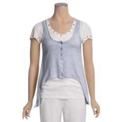 True Grit Haute Heathered Knit Vest - Button Front (For Women)