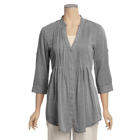 True Grit Shadow Stripe Pintuck Shirt - 3/4 Sleeve (For Women)