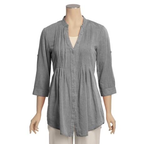 True Grit Shadow Stripe Pintuck Shirt - 3/4 Sleeve (For Women)