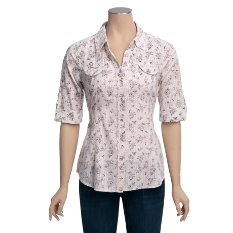 True Grit Bling Button Blouse - Cotton Voile, 3/4 Convertible Sleeve (For Women)