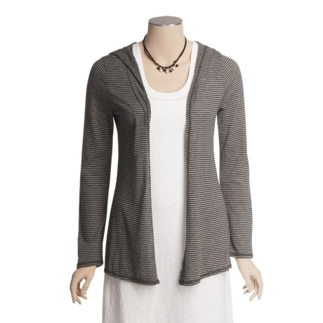 True Grit Supreme Microstripe Cardigan Sweater - Hooded (For Women)