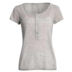 True Grit Microstripe T-Shirt - Crystal Buttons, Short Sleeve (For Women)