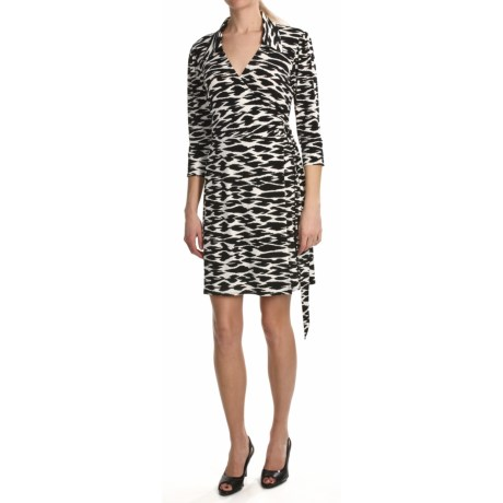 Laundry by Design Matte Jersey Wrap Dress - 3/4 Sleeve (For Women)
