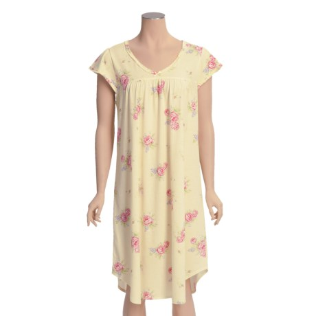 Carole Hochman Floral Nightgown - Ruffle Trim, Short Sleeve (For Women)