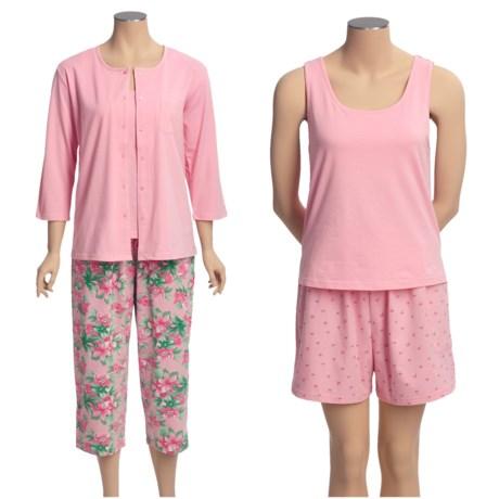 Carole Hochman 4-Piece Pajamas - Stretch Cotton, 3/4 Sleeve (For Women)