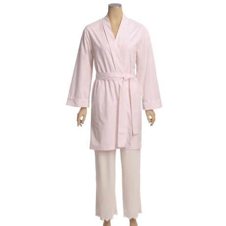 Diamond Tea Cotton Check Robe (For Women)