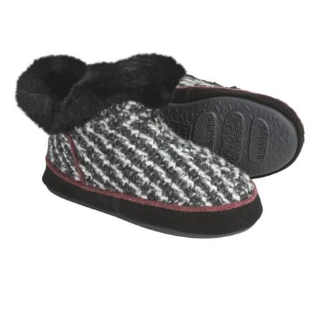 Acorn Giona Tweed Bootie Slippers - Wool, Microfleece Lining (For Women)
