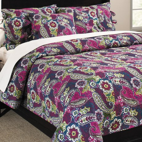 Ivy Hill Home Colonial Floral Paisley Cotton Quilt and Sham Set, Full-Queen