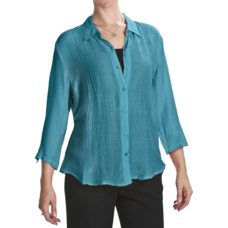 Casual Studio Silk Blend Shirt - 3/4 Sleeve (For Women)