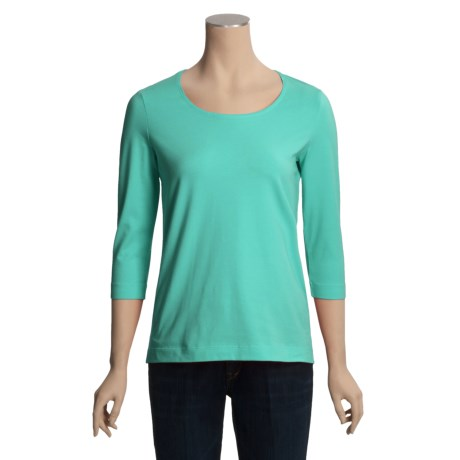 Casual Studio Scoop Neck T-Shirt - Stretch Cotton, 3/4 Sleeve (For Women)