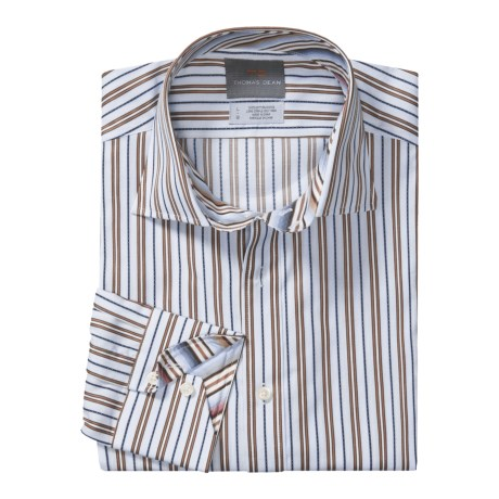 Thomas Dean Cotton Sport Shirt - Two-Button Band Spread Collar, Long Sleeve (For Men)