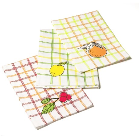 Tag Fruit-Embroidered Dish Towels - Set of 3, Cotton