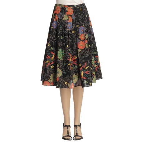 Casual Studio Pleated Skirt - Printed Cotton (For Women)