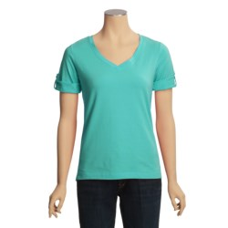 Casual Studio V-Neck T-Shirt - Stretch Cotton, Short Sleeve (For Women)