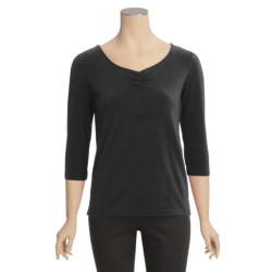 Casual Studio Shirred V-Neck Shirt - Stretch Cotton, 3/4 Sleeve (For Women)
