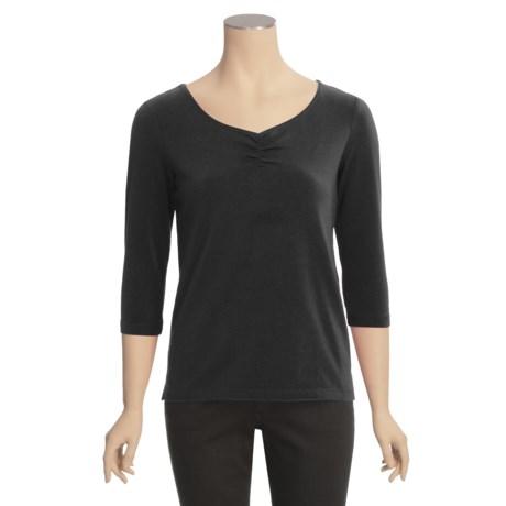 Casual Studio Shirred V-Neck Shirt - Stretch Cotton, 3/4 Sleeve (For Women)