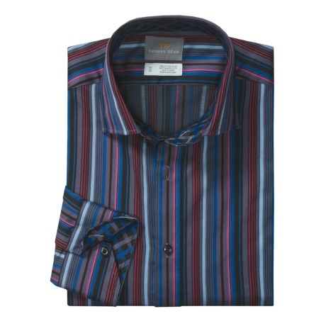 Thomas Dean Textured Stripe Sport Shirt - Long Sleeve (For Men)
