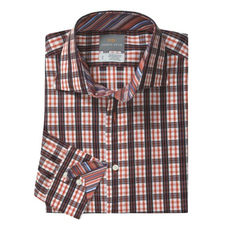 Thomas Dean Check Windowpane Sport Shirt - Spread Collar, Long Sleeve (For Men)