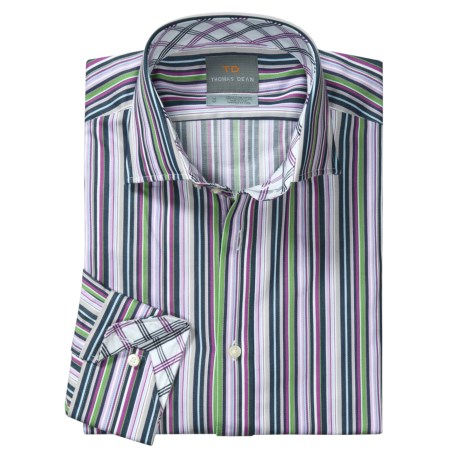Thomas Dean Bright Multi-Stripe Sport Shirt - Spread Collar, Long Sleeve (For Men)