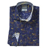 Thomas Dean Floral Print Sport Shirt - Spread Collar, Long Sleeve (For Men)