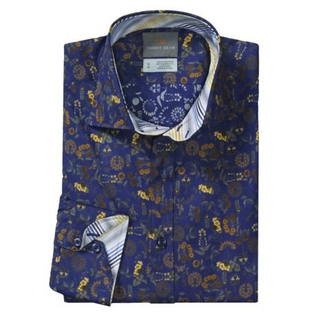 Thomas Dean Floral Print Sport Shirt - Spread Collar, Long Sleeve (For Men)