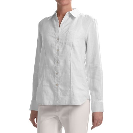 Paperwhite Linen Shirt - Long Sleeve (For Women)