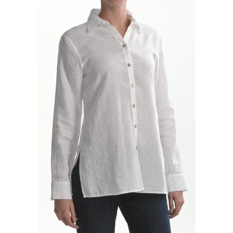 Paperwhite Linen Tunic Shirt - Long Sleeve (For Women)