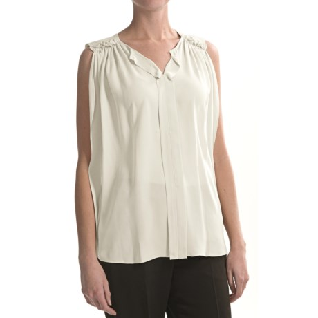 Paperwhite Silk Shirt - Sleeveless (For Women)