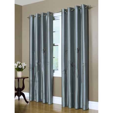 "Decor Premier Lily Embroidered Curtains - 95"", Grommet-Top, Faux Silk"
